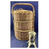 Large Vntg 3-Tiered Basket + Old Iron Tree Stand