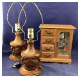 Small Wooden Jewelry Box + Pair of Carved Lamps