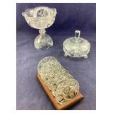 Glass Coasters & Cut Crystal Bowl & Candy Dish