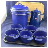 All Cobalt Blue Steamer & Coffee Pot & Ceramic