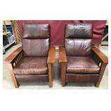 Solid Oak And Leather Recliners