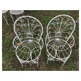 Two Ornate Vintage Metal Outdoor Chairs