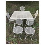 vintage outdoor metal table and chairs