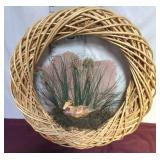 Wood Strip Wreath With Duck In Marsh