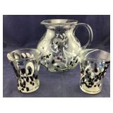 Hand Blown Pitcher And Glasses Labeled Amicl