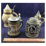 Four Beer Steins- Two Are Definitely From Germany