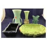 Three McCoy Vases & Shallow Footed Centerpiece