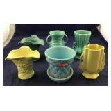 Six Pieces Of McCoy Pottery- Vases And A Planter