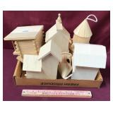 Six Small Unpainted Birdhouses