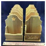 Two Sets Of 5 Wood Hanging Card Holders