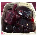 Box With Assortment Of Red/Ruby Glassware