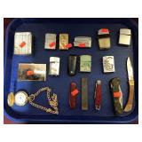 Pocket Watch, Vintage Cigarette Lighters, Knifes
