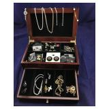 Jewelry Box and Costume Jewelry Contents