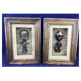 Pair of Shadow Box Framed Primitive Native Figures