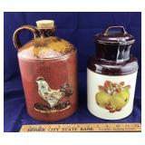 Colorful Chicken Jug and Vintage Crock Canister