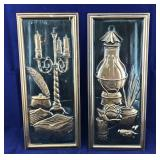 Vintage Pair of Narrow Copper Pictures/Wall Art