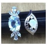 Pair of Opal and Topaz Sterling Rings With CZ