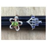 2 Peridot and Tanzanite Sterling Rings W/CZ