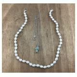 Emerald/Sterling & Pearl/Sterling Necklaces