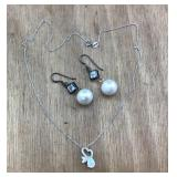 Sterling Pearl/Topaz Earrings & Opal/CZ Necklace