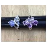 Pr of Sterling/Amethyst and Tanzanite/CZ Rings