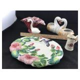Clay Swan Flower pots, Porcelain Plate, etc