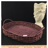 Heavy Resin Angel Vase & Woven Basket