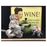 Metal Wine Sign & Ty Beanie Babies