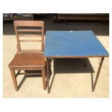 Vintage Card Table and Side Chair