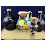 Brown Glass Jugs, Italian Pitcher, Mickey Jar