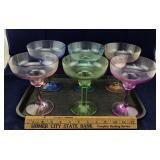 6 Large Colorful Plastic Margarita Glasses