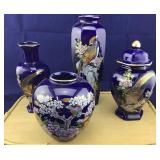 4 Porcelain Oriental Navy Blue Vases/Ginger Jar