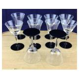 10 Clear Glass Footed Cordials With Black Base