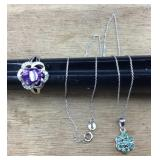 Sterling/Amethyst Ring & Sterling/Emerald Necklace