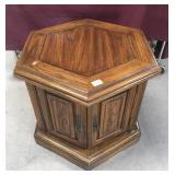 Solid Oak Hexagonal End Table with Cabinet