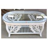 Wicker and Rattan Glass Top Coffee Table