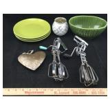 Rotary Beaters, Dishes, Candle Holders & Heart