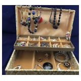 Vintage Cloth Covered Jewelry Box And Contents