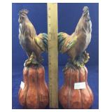 2 Decorative Rooster Table Art