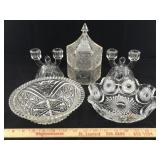 Cut Glass Bowls, Candlesticks & Stacked Candy Dish