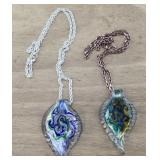 Pair of Art Glass Pendants/ Necklaces