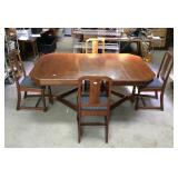 Antique walnut dining table and chairs set