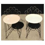 Pair of small vanity stools