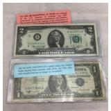 1957B Silver Certificate & 1976 Two Dollar Note