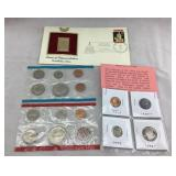 Proof Coins, Uncirc. Mint Set, Gold 1st Day Stamp