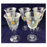 5 Large Hand Blown Pier 1 Goblets