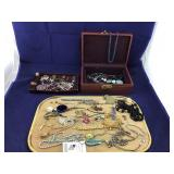 Old Jewelry Box and Costume Contents