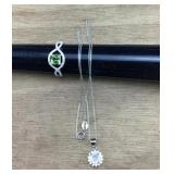 Sterling Stone Ring and Necklace With CZ