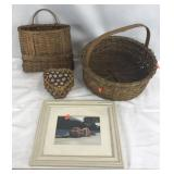 3 Woven Baskets + Small Framed Print