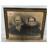 Gold Framed Antique Portrait of Man & Wife